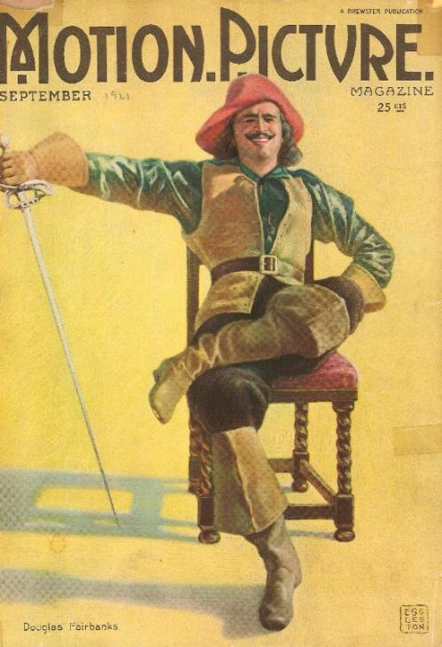 "Douglas Fairbanks as D'Artagnan from ""The Three Musketeers"" as featured on the cover of Motion Picture Magazine, September 1921. From the collections of the Douglas Fairbanks Museum."