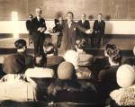 Photo of Fairbanks lecturing USC film class, 1929